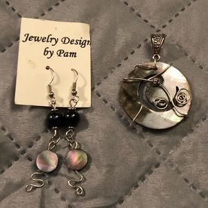 Jewelry - NEW Handcrafted Abalone Shell pendant and earrings
